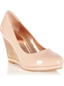 Wedge Stacked Court, Pink - predominant colour: nude; secondary colour: nude; occasions: casual, evening, work, occasion; material: faux leather; heel height: high; heel: wedge; toe: round toe; style: courts; finish: patent; pattern: plain