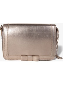 Metallic Bow Shoulder Bag - predominant colour: champagne; occasions: casual, evening, occasion; type of pattern: standard; style: shoulder; length: across body/long; size: small; material: faux leather; pattern: plain; trends: metallics; finish: metallic