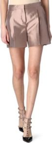 Silk Twill Shorts - pattern: plain; style: shorts; pocket detail: small back pockets, pockets at the sides; waist: high rise; length: short shorts; predominant colour: stone; occasions: evening, work; fibres: silk - 100%; hip detail: front pleats at hip level; texture group: structured shiny - satin/tafetta/silk etc.; trends: metallics; fit: straight leg; pattern type: fabric