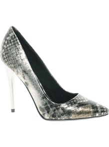 Heyam Metallic Snake Print Pointed Court Shoes - predominant colour: silver; occasions: evening, occasion; material: faux leather; heel height: high; heel: stiletto; toe: pointed toe; style: courts; trends: metallics; finish: metallic; pattern: animal print