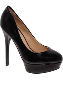 Fronime Platform Court Shoes - predominant colour: black; occasions: evening, work, occasion; material: faux leather; heel: platform; toe: round toe; style: courts; finish: plain; pattern: plain; heel height: very high
