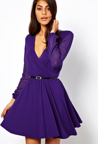 Skater Dress With Chiffon Sleeves And Belt - style: faux wrap/wrap; length: mid thigh; neckline: low v-neck; pattern: plain; shoulder detail: contrast pattern/fabric at shoulder; waist detail: belted waist/tie at waist/drawstring; bust detail: ruching/gathering/draping/layers/pintuck pleats at bust; predominant colour: purple; occasions: evening, occasion; fit: fitted at waist & bust; fibres: polyester/polyamide - stretch; hip detail: soft pleats at hip/draping at hip/flared at hip; sleeve length: long sleeve; sleeve style: standard; pattern type: fabric; texture group: jersey - stretchy/drapey