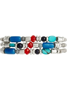 Mixed Bead Bracelet Set - predominant colour: silver; occasions: casual, holiday; style: bangle; size: standard; material: plastic/rubber; finish: plain; embellishment: beading