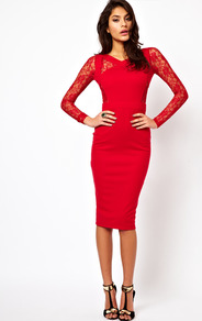 Bodycon Dress With Lace Inserts - length: below the knee; neckline: v-neck; fit: tight; pattern: plain; style: bodycon; back detail: low cut/open back; shoulder detail: contrast pattern/fabric at shoulder; predominant colour: true red; occasions: evening, occasion; fibres: polyester/polyamide - stretch; sleeve length: long sleeve; sleeve style: standard; texture group: jersey - clingy; pattern type: fabric; embellishment: lace