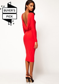 Midi Bodycon Dress With Drape V Back - length: below the knee; neckline: slash/boat neckline; fit: tight; pattern: plain; style: bodycon; back detail: cowl/draping/scoop at back; predominant colour: true red; occasions: evening, occasion; fibres: polyester/polyamide - stretch; sleeve length: long sleeve; sleeve style: standard; texture group: jersey - clingy; pattern type: fabric