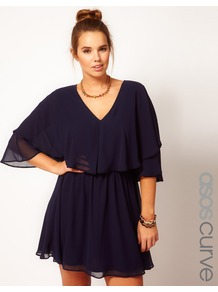 Curve Dress With Cape - length: mid thigh; neckline: low v-neck; sleeve style: dolman/batwing; fit: fitted at waist; pattern: plain; style: blouson; waist detail: elasticated waist; bust detail: ruching/gathering/draping/layers/pintuck pleats at bust; predominant colour: navy; occasions: evening, occasion; fibres: polyester/polyamide - 100%; sleeve length: 3/4 length; texture group: sheer fabrics/chiffon/organza etc.; trends: volume; pattern type: fabric