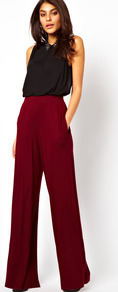 Trousers With Wide Leg - pattern: plain; waist: high rise; pocket detail: pockets at the sides; length: extra long; predominant colour: burgundy; occasions: casual, evening, holiday; fibres: viscose/rayon - stretch; fit: wide leg; pattern type: fabric; texture group: other - light to midweight; style: standard