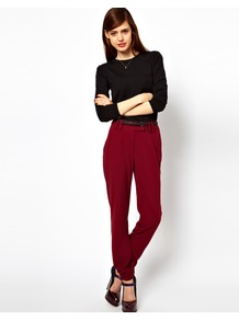 Trousers With Cuff Hem - length: standard; pattern: plain; style: tracksuit pants; waist: mid/regular rise; predominant colour: burgundy; occasions: casual, evening, work; fibres: polyester/polyamide - stretch; fit: tapered; pattern type: fabric; texture group: other - light to midweight