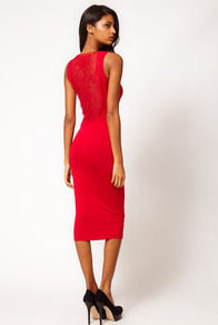 Midi Dress With Lace Back Panel - length: below the knee; neckline: round neck; fit: tight; pattern: plain; sleeve style: sleeveless; style: bodycon; back detail: contrast pattern/fabric at back; predominant colour: true red; occasions: evening, occasion; fibres: viscose/rayon - stretch; sleeve length: sleeveless; texture group: jersey - clingy; pattern type: fabric; embellishment: lace