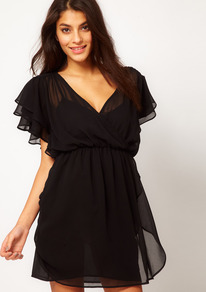 Skater Dress With 70's Frill - style: faux wrap/wrap; length: mid thigh; neckline: low v-neck; sleeve style: angel/waterfall; fit: fitted at waist; pattern: plain; waist detail: fitted waist; predominant colour: black; occasions: casual, evening, holiday; fibres: polyester/polyamide - 100%; sleeve length: short sleeve; texture group: sheer fabrics/chiffon/organza etc.; pattern type: fabric