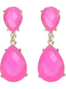 Fuchsia Stone Tear Drop Earrings - predominant colour: hot pink; occasions: evening, occasion, holiday; style: drop; length: mid; size: large/oversized; material: plastic/rubber; fastening: pierced; trends: fluorescent; finish: plain; embellishment: jewels