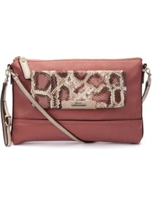 Pink Snake Print Panel Clutch Bag - predominant colour: terracotta; secondary colour: stone; occasions: casual, evening, work; type of pattern: small; style: clutch; length: across body/long; size: small; material: leather; pattern: animal print; finish: plain