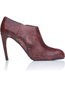 Dori Platform Leather Ankle Boot Purple Bordeaux Snake - predominant colour: burgundy; occasions: casual, evening, work; material: leather; heel height: high; heel: banana; toe: pointed toe; boot length: shoe boot; style: standard; finish: patent; pattern: animal print