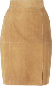 Cristin Suede Pencil Skirt Brown Tobacco - pattern: plain; style: pencil; fit: tailored/fitted; waist: high rise; predominant colour: camel; occasions: casual, work; length: just above the knee; fibres: leather - 100%; pattern type: fabric; texture group: suede