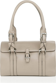 Emeline Small Shoulder Bag Grey Clay - predominant colour: light grey; occasions: casual, work; type of pattern: standard; style: shoulder; length: shoulder (tucks under arm); size: standard; material: leather; pattern: plain; finish: plain; embellishment: buckles