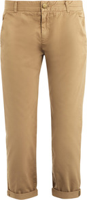 Captain Chino Trousers - pattern: plain; waist: mid/regular rise; predominant colour: camel; occasions: casual, work, holiday; length: ankle length; style: chino; fibres: cotton - 100%; jeans & bottoms detail: turn ups; texture group: cotton feel fabrics; fit: straight leg; pattern type: fabric