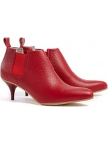 Red Patent Finish Palma Kitten Heel Boots - predominant colour: true red; occasions: casual, evening, work; material: leather; heel height: mid; embellishment: elasticated; heel: kitten; toe: pointed toe; boot length: ankle boot; style: standard; finish: plain; pattern: plain