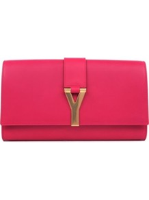 Chyc Leather Clutch - predominant colour: hot pink; occasions: casual, evening, occasion; style: clutch; length: hand carry; size: small; material: leather; pattern: plain; finish: plain; embellishment: chain/metal