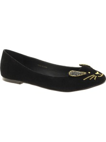Little Miss Ballet Flats - secondary colour: gold; predominant colour: black; occasions: casual, evening; material: faux leather; heel height: flat; embellishment: embroidered; toe: round toe; style: ballerinas / pumps; finish: plain; pattern: plain