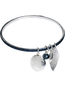 Glitter Charm Bangle - predominant colour: silver; occasions: casual, evening, work, holiday; style: bangle; size: standard; material: chain/metal; finish: metallic; embellishment: jewels