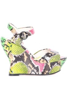 Jana Embossed Leather Flash Snake Wedge - occasions: evening, holiday; predominant colour: multicoloured; material: leather; ankle detail: ankle strap; heel: wedge; toe: open toe/peeptoe; style: standard; finish: plain; pattern: animal print; heel height: very high
