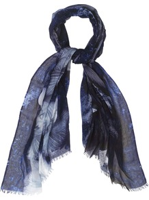 Lourdes Orchid Print Scarf, Blue - secondary colour: pale blue; predominant colour: navy; occasions: casual, evening, work; type of pattern: heavy; style: regular; size: standard; material: fabric; pattern: patterned/print
