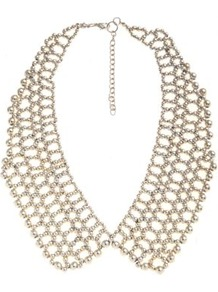 Gold Woven Bead Collar Necklace - secondary colour: silver; predominant colour: gold; occasions: evening, occasion, holiday; style: choker/collar; length: short; size: large/oversized; material: chain/metal; trends: metallics; finish: metallic; embellishment: crystals