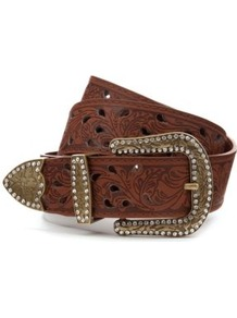 Tan Western Cut Out Belt - predominant colour: tan; occasions: casual; type of pattern: light; style: classic; size: standard; worn on: hips; material: faux leather; embellishment: crystals; finish: plain; pattern: patterned/print