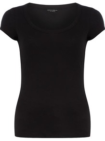 Black Scoop Neck Tee - sleeve style: capped; pattern: plain; style: t-shirt; predominant colour: black; occasions: casual, holiday; length: standard; neckline: scoop; fibres: cotton - 100%; fit: body skimming; sleeve length: short sleeve; texture group: cotton feel fabrics; pattern type: fabric