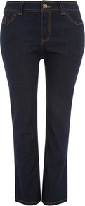 Indigo Straight Leg Jeans - style: straight leg; length: standard; pattern: plain; pocket detail: traditional 5 pocket; waist: mid/regular rise; predominant colour: indigo; occasions: casual; fibres: cotton - mix; texture group: denim; pattern type: fabric