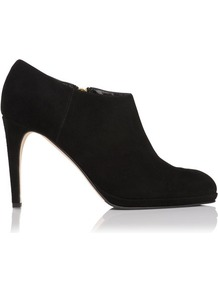 Dori Platform Suede Ankle Boot Black - predominant colour: black; occasions: casual, evening, work; material: suede; heel height: high; heel: banana; toe: pointed toe; boot length: shoe boot; style: standard; finish: plain; pattern: plain