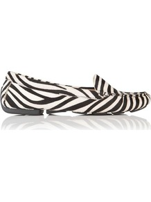 Gale Hair Calf Leather Driving Shoe Print Zebra - secondary colour: white; occasions: casual, evening, work, holiday; material: leather; heel height: flat; toe: round toe; style: loafers; predominant colour: monochrome; finish: plain; pattern: animal print