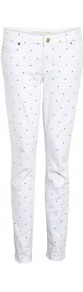 White Studded Skinny Jeans - style: skinny leg; pattern: plain; waist: low rise; pocket detail: traditional 5 pocket; predominant colour: white; secondary colour: gold; occasions: casual, evening, holiday; length: ankle length; fibres: cotton - stretch; texture group: denim; pattern type: fabric; embellishment: studs