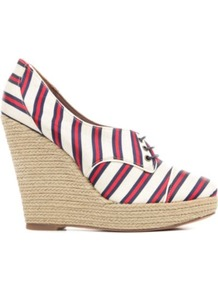 Oxford Canvas Wedges - secondary colour: ivory; predominant colour: true red; occasions: casual, holiday; material: fabric; heel: wedge; toe: round toe; style: courts; trends: striking stripes; finish: plain; pattern: striped; heel height: very high
