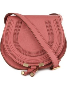 Marcie Mini Satchel - occasions: casual; style: saddle; length: across body/long; size: small; material: leather; pattern: plain; finish: plain; predominant colour: dusky pink