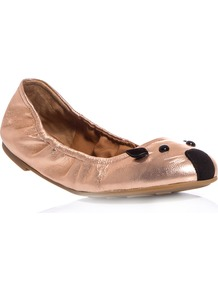 Metallic Leather Mouse Flats - predominant colour: bronze; occasions: casual, evening, work, holiday; material: leather; heel height: flat; toe: round toe; style: ballerinas / pumps; finish: metallic; pattern: patterned/print