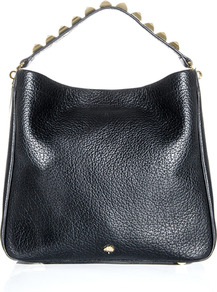 Eliza Hobo Bag - predominant colour: black; occasions: casual, evening, work; type of pattern: standard; style: shoulder; length: shoulder (tucks under arm); size: standard; material: leather; embellishment: studs; pattern: plain; finish: plain
