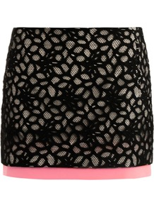 Elley Mini Skirt - length: mini; pattern: plain; waist: mid/regular rise; secondary colour: pink; predominant colour: black; occasions: evening, holiday; style: mini skirt; fibres: cotton - mix; texture group: lace; fit: straight cut; pattern type: fabric; pattern size: big & busy