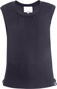 Silk Muscle Tee Blouse - neckline: round neck; sleeve style: capped; pattern: plain; predominant colour: navy; occasions: casual, work; length: standard; style: top; fibres: silk - 100%; fit: straight cut; sleeve length: sleeveless; texture group: sheer fabrics/chiffon/organza etc.; pattern type: fabric