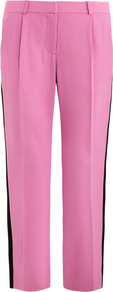 Naples Trousers - length: standard; pattern: plain; waist: mid/regular rise; predominant colour: pink; secondary colour: black; occasions: casual, work; fibres: viscose/rayon - 100%; fit: straight leg; texture group: other - light to midweight; style: standard