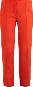 Aislin Trousers - length: standard; pattern: plain; waist: mid/regular rise; predominant colour: bright orange; occasions: casual, work; fibres: viscose/rayon - stretch; fit: slim leg; pattern type: fabric; texture group: other - light to midweight; style: standard