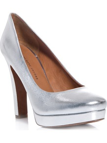 Metallic Leather Pumps - predominant colour: silver; occasions: evening, occasion, holiday; material: leather; heel height: high; heel: platform; toe: round toe; style: courts; trends: metallics; finish: metallic; pattern: plain