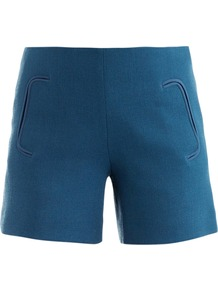 Santorini Crepe Wool Shorts - pattern: plain; style: shorts; pocket detail: pockets at the sides; length: short shorts; waist: mid/regular rise; predominant colour: diva blue; occasions: casual; fibres: wool - 100%; fit: slim leg; pattern type: fabric; texture group: woven light midweight