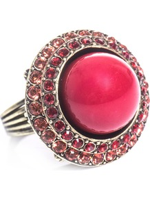 Maria Felix Ring - predominant colour: hot pink; secondary colour: silver; occasions: evening, occasion, holiday; style: cocktail; size: large/oversized; material: chain/metal; finish: metallic; embellishment: jewels