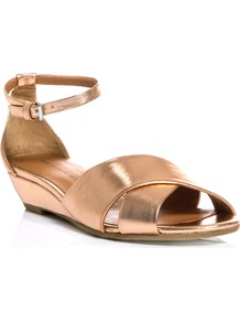 Metallic Wedge Sandals - predominant colour: gold; occasions: casual, evening, occasion, holiday; material: leather; heel height: mid; ankle detail: ankle strap; heel: wedge; toe: open toe/peeptoe; style: standard; trends: metallics; finish: metallic; pattern: plain