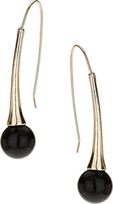 Bead Drop Earrings - secondary colour: gold; predominant colour: black; occasions: casual, evening, work, occasion, holiday; style: drop; length: mid; size: small; material: chain/metal; fastening: pierced; trends: metallics; finish: plain; embellishment: beading