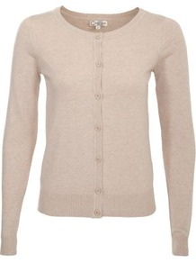Stone Crew Neck Knitted Cardigan - neckline: round neck; pattern: plain; predominant colour: stone; occasions: casual, work; length: standard; style: standard; fibres: cotton - mix; fit: slim fit; sleeve length: long sleeve; sleeve style: standard; texture group: knits/crochet; pattern type: knitted - other