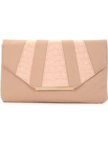 Shell Pink Croc Panel Envelope Clutch - predominant colour: nude; occasions: evening, occasion; type of pattern: standard; style: clutch; length: hand carry; size: small; material: faux leather; pattern: striped; finish: plain