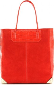 Prisma Leather And Suede Tote - predominant colour: bright orange; occasions: casual, holiday; type of pattern: standard; style: tote; length: handle; size: oversized; material: suede; pattern: plain; trends: fluorescent; finish: plain; embellishment: chain/metal