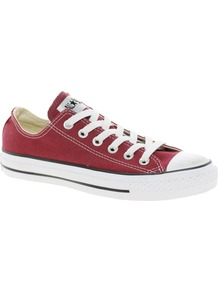 All Star Ox Trainers - predominant colour: true red; occasions: casual; material: fabric; heel height: flat; toe: round toe; style: trainers; finish: plain; pattern: plain